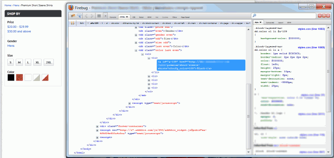 Code for layered navigation color swatches in Firebug
